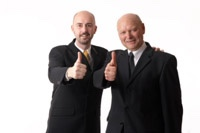 both thumbs up two managers in front of white background